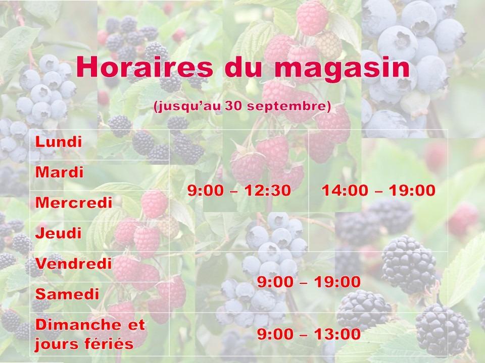 horaires étéfruits